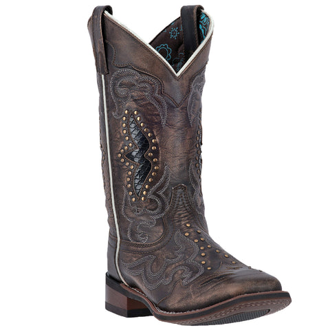 Laredo Womens Spellbound Cowboy Boots Leather Black/Tan