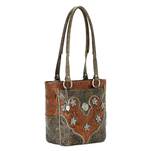 American West Desert Wildflower S Zip-Top Tote Handbag Antique Brown Leather