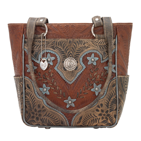 American West Desert Wildflower Antique Brown Leather Zip Top Tote