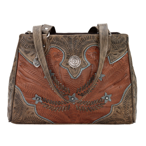 American West Desert Wildflower Organizer Tote Antique Brown Leather