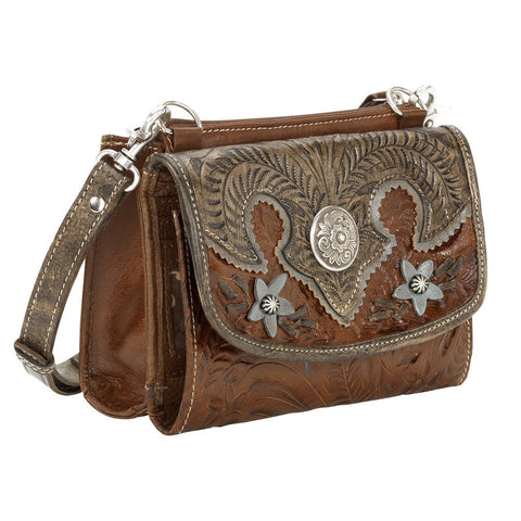 American West Texas Two Step Floral Crossbody Two-Tone Antique Brown Leather