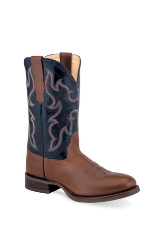 Old West Dark Brown/Navy Mens Leather Cowboy Boots 8.5D