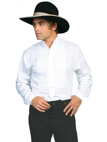 Scully Wahmaker Mens White 100% Cotton L/S Gambler Poplin Western Shirt