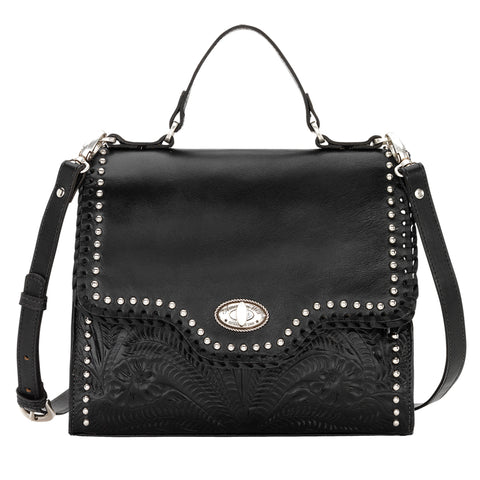 American West Hidalgo Convertible Flap Bag Black Leather