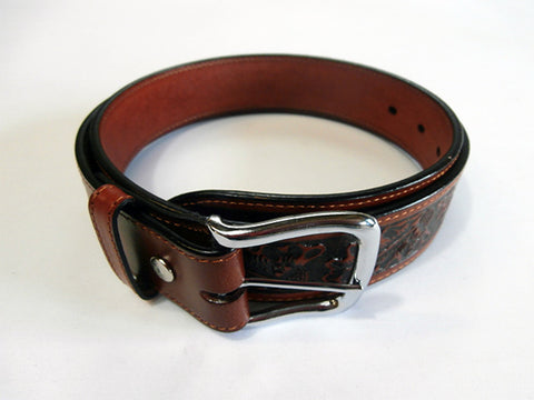 Rockmount Mens Brown Leather Floral Tooled Western Belt