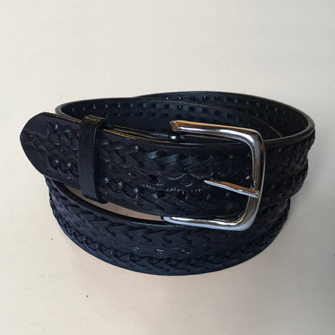 Rockmount Mens Black Leather Tooled and Laced 1.5in Belt