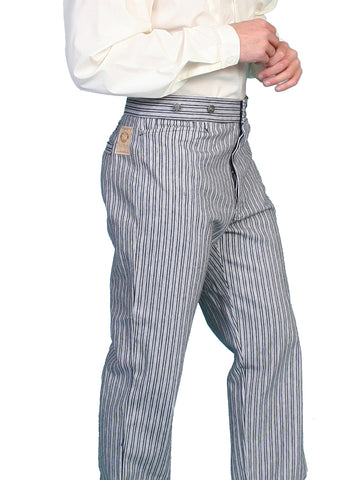 Scully Mens Wahmaker Button Fly Striped Pants Black 100% Cotton