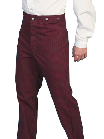 Scully Mens Wahmaker Button Fly Striped Pants Burgundy 100% Cotton
