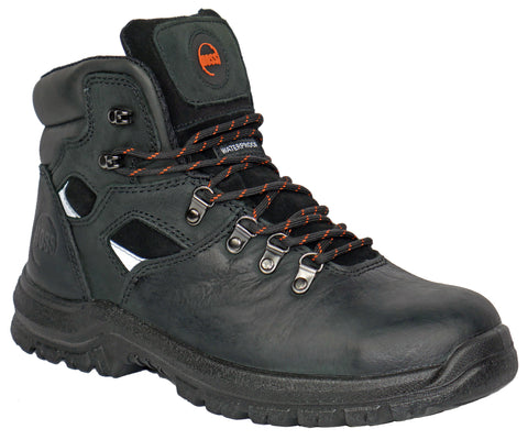 Hoss Boots Mens Black Leather Adam 6in ST Work Boots