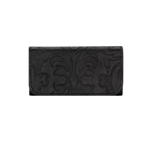American West Baroque Tri-Fold Wallet Black Leather