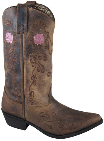 Smoky Mountain Womens Rosette Brown Leather Cowboy Boots 8 M