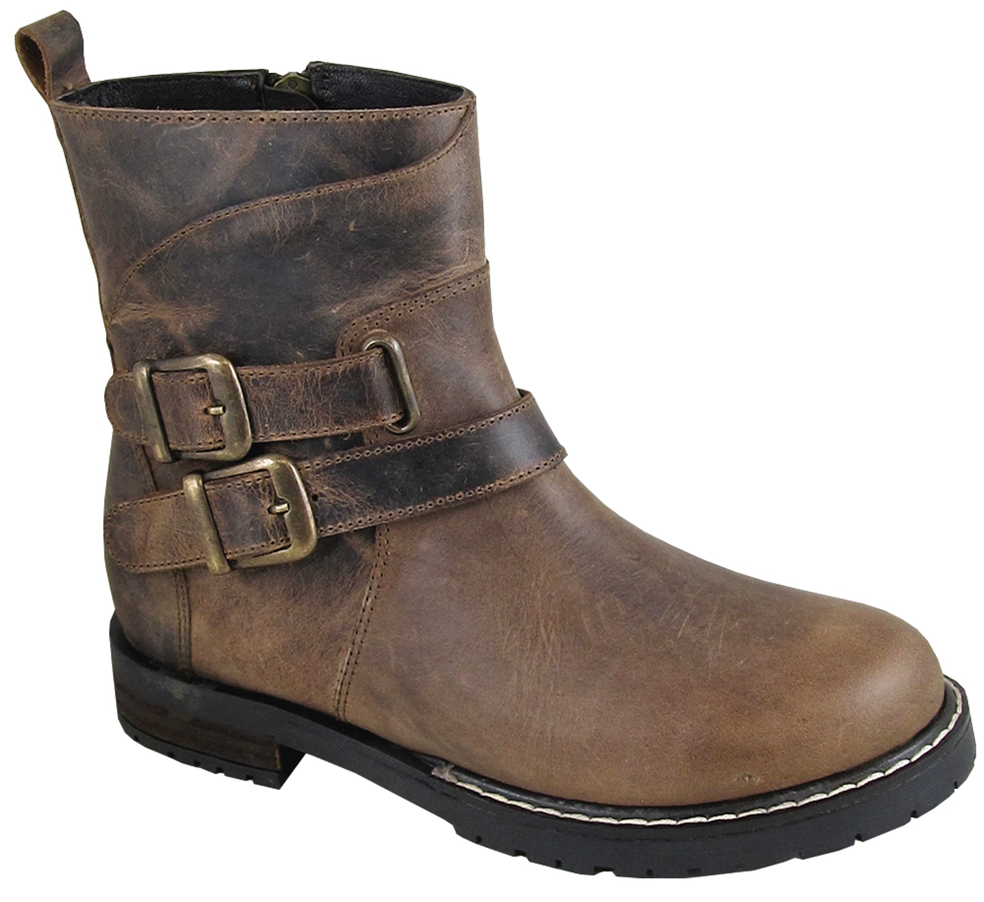 Smoky Mountain Women's Dylan Round Toe Slip On with Double Buckle Brown Waxed Distress Boots