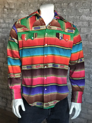 Rockmount Mens Multi-Color Fleece Native Pattern Fleece Stripe L/S Shirt