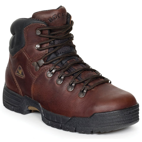 Rocky Mens Dark Brown Leather Mobilite Steel Toe Waterproof Work Boots