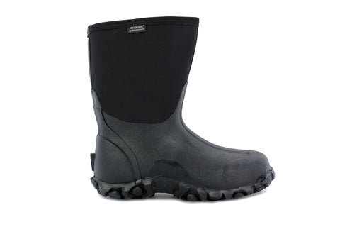 Bogs Mens Black Rubber/Nylon Classic Mid Insulated Winter Boots