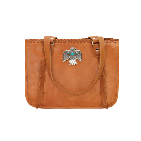 American West Thunderbird Ridge Zip Top Tote Golden Tan Leather