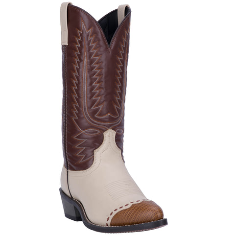 Laredo Mens Flagstaff Cowboy Boots Leather Bone/Brown