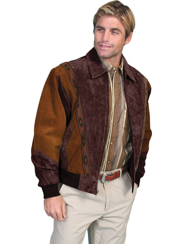 Scully Leather Mens Western Boar Suede Rodeo Jacket Cafe Brown/Chocolate