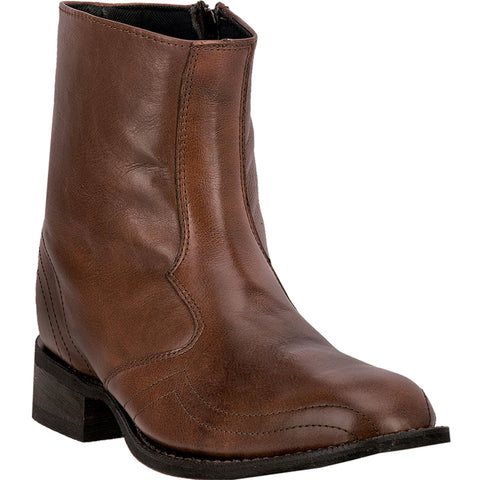 Laredo Mens Brown Hoxie Leather Cowboy Boots 7in French Toe Ankle