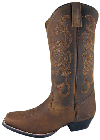 Smoky Mountain Boots Womens Lariat Brown Oil Leather Western Square Toe