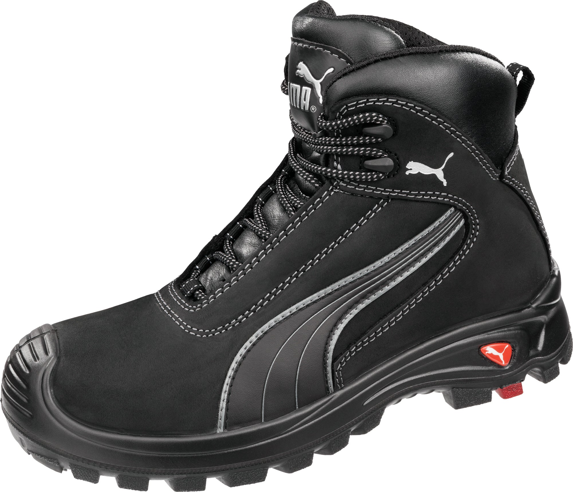 13bdfb9d424 Puma Safety Black Mens Leather Cascades Mid EH WRU CT LaceUp Work ...