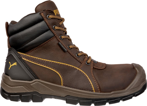 Puma Safety Brown Mens Leather Tornado CTX Mid WP AS Lace-Up Work Boots
