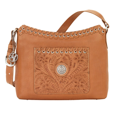 American West Harvest Moon Shoulder Bag Golden Tan Leather Zip Top
