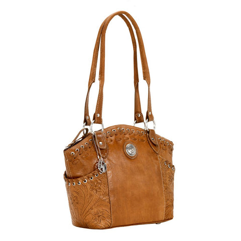 American West Harvest Moon Zip-Top Bucket Tote Handbag Golden Tan Leather
