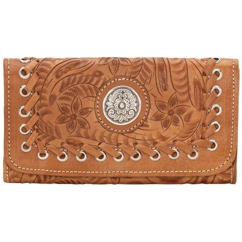 American West Harvest Moon Concho Stitch Tri-Fold Wallet Golden Tan Leather