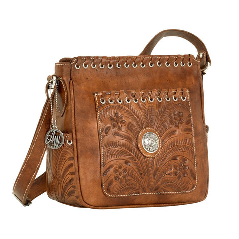 American West Harvest Moon All Access Crossbody Handbag Golden Tan Leather