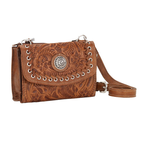 American West Texas Two Step Concho Combination Crossbody Golden Tan Leather