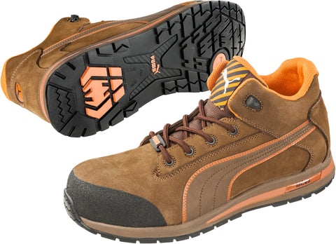 Puma Safety Brown Mens Leather Dash Mid ASTM EH CT LaceUp Work Boots