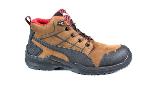 00bc47418dcc9d Puma Safety Brown Black Mens Leather Krypton Mid CT Lace-Up Work Boots