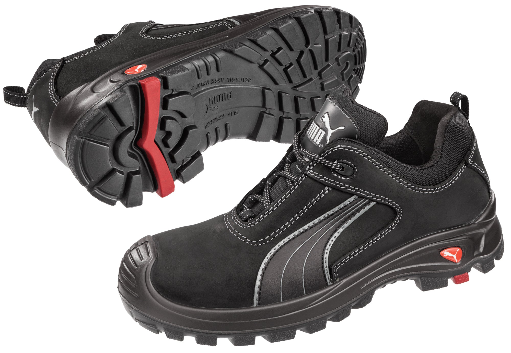 aaf40aec Puma Safety Black Mens Leather Cascades Low EH WRU LaceUp Work Boots