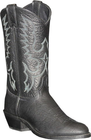 Abilene Mens Black Leather 12in Bison USA Cowboy Boots