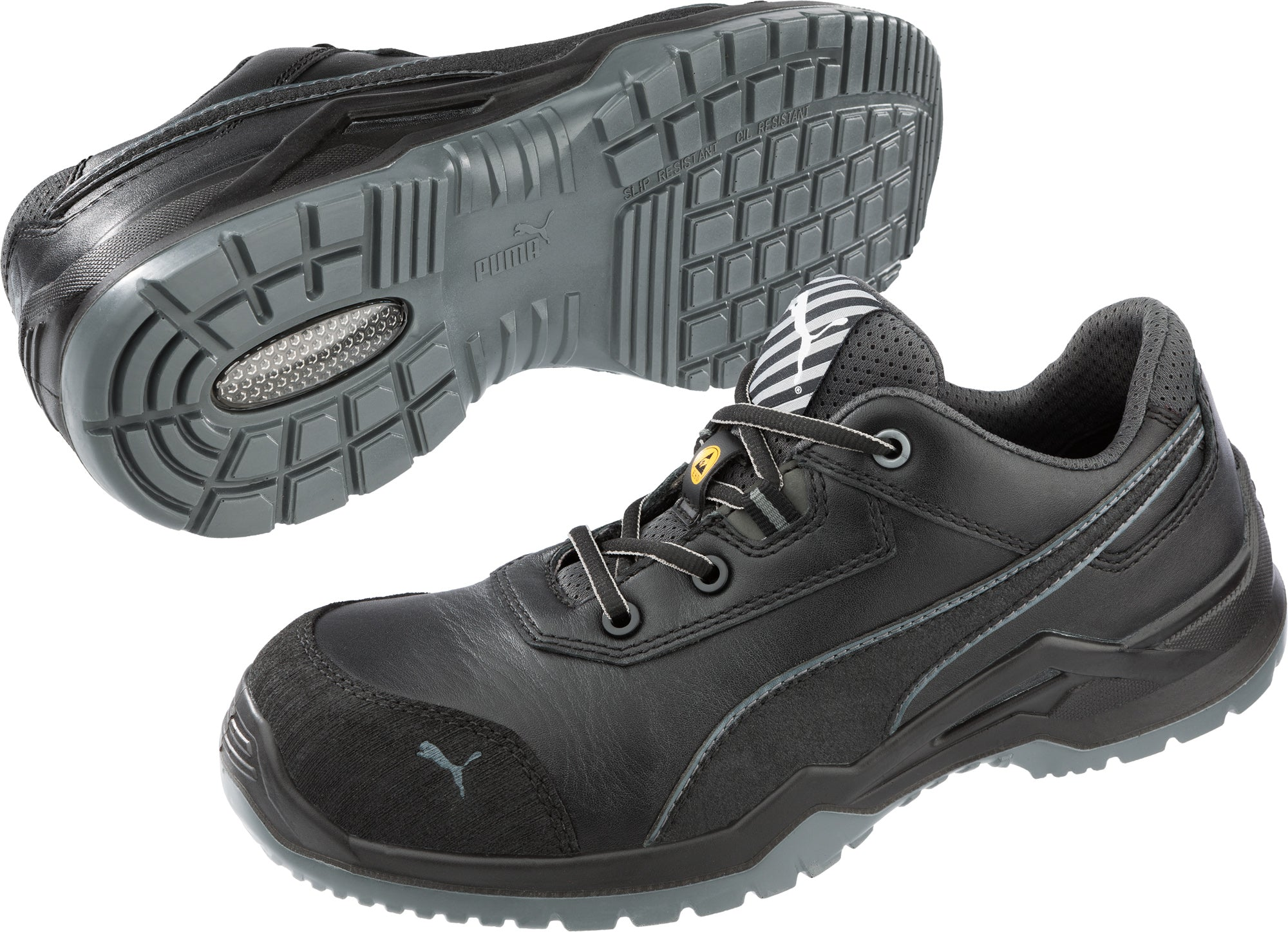 ac8956b4877c42 Puma Safety Black Mens Leather Argon Low SD ASTM CT Oxfords Work ...
