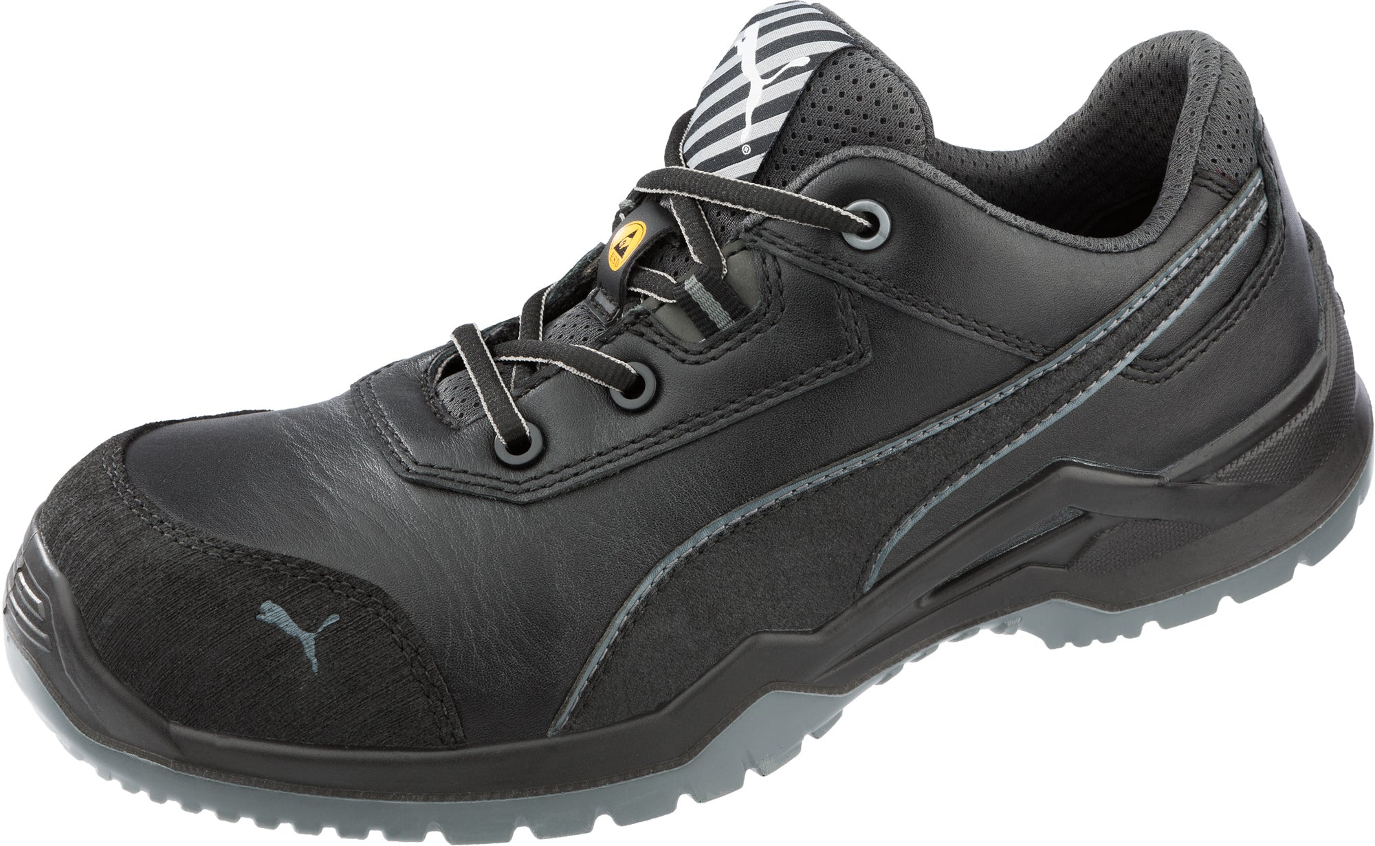 Puma Safety Black Mens Leather Argon Low Sd Astm Ct Oxfords Work