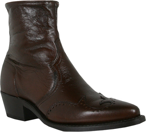 Abilene Boots Mens Antique Walnut Cowhide Cowboy Zip
