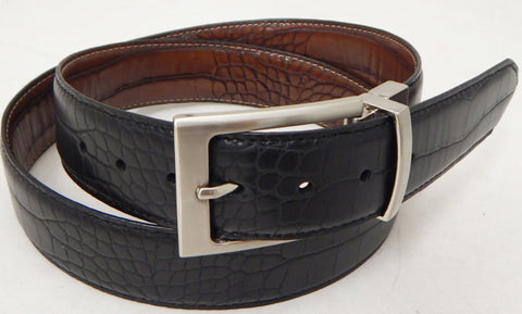 Danbury Mens Black/Brown Croco Leather Reversible Golf Belt