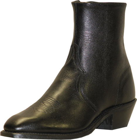 Abilene Mens Black Leather 7in Zipper Ankle Boots