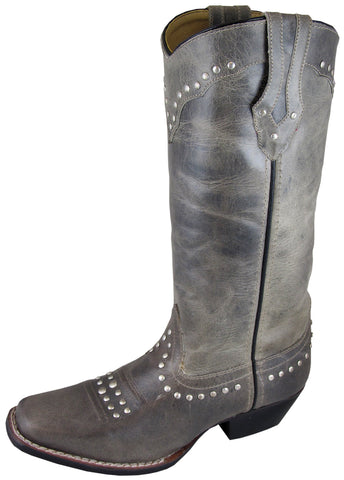 Smoky Mountain Boots Womens Laurel Gray Leather Square Toe Studded