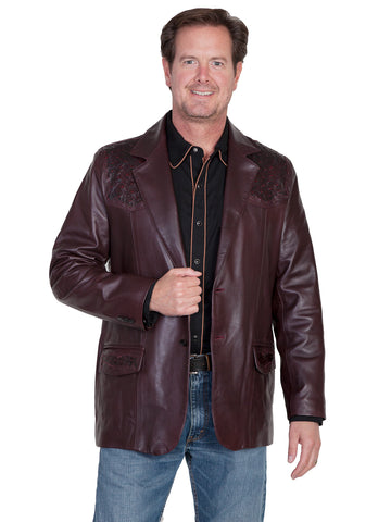 Scully Leather Mens Black Cherry Lambskin Ostrich Trim Western Blazer