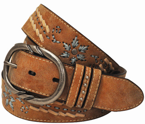 Cowgirls Rock Womens Tan Leather Embroidered Belt