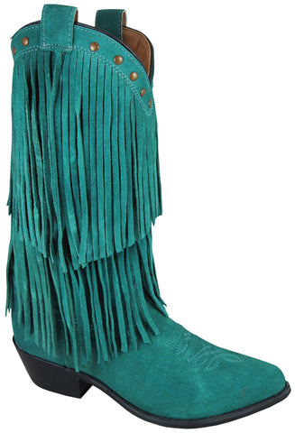 Smoky Mountain Boots Womens Wisteria Teal Leather Fringe