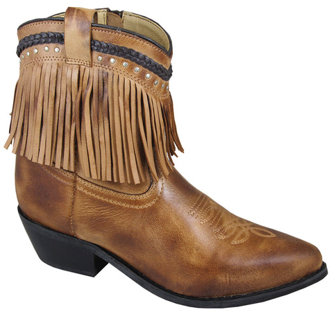 Smoky Mountain Boots Womens Torrance Bomber Tan Leather Ankle Fringe