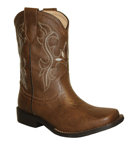 Tecs Childrens Boys Brown 8in Western Pull On Cowboy Boots PU