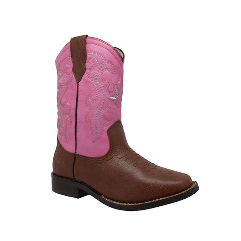 Tecs Childrens Girls Pink 8in Western Pull On Cowboy Boots Leather