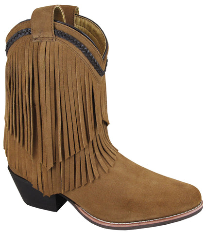 Smoky Mountain Boots Womens Abby Brown Leather Fringe PullOn