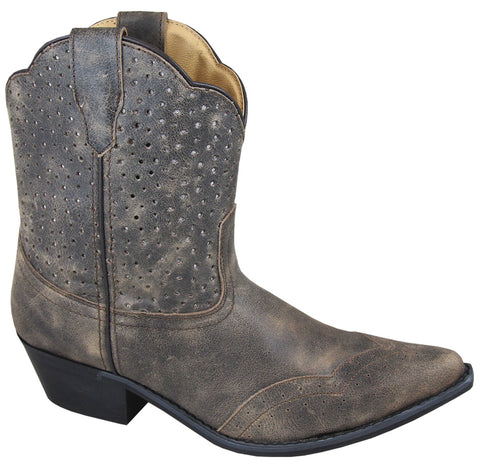 Smoky Mountain Boots Womens Fern Gray Leather Waxed Perforated