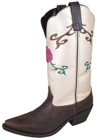 Smoky Mountain Boots Womens Lucky Cream Leather Rose